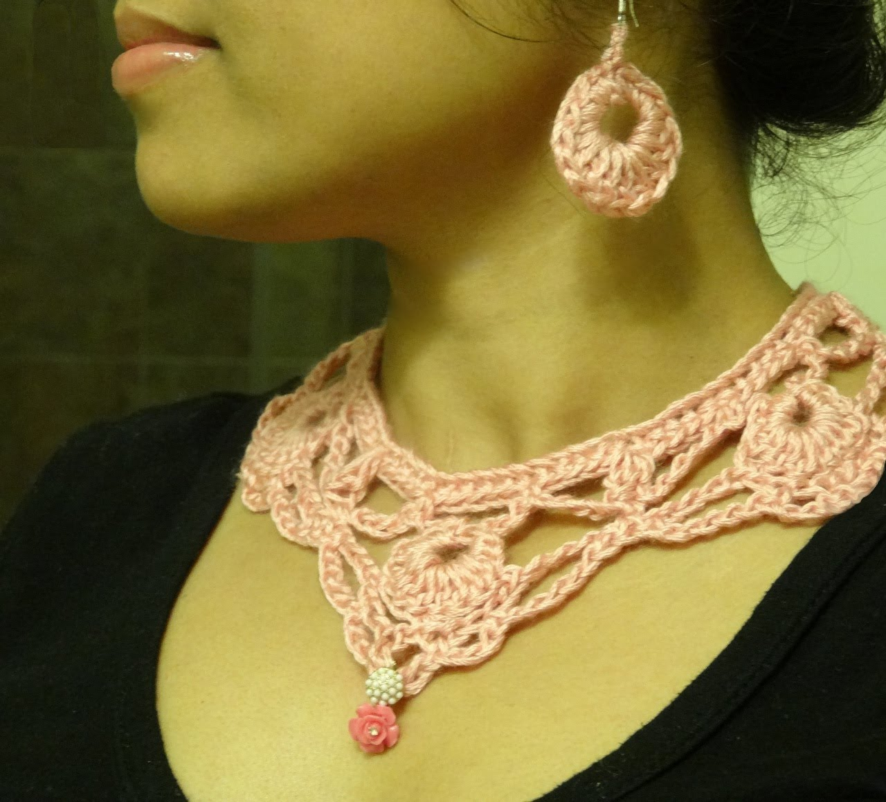 part 1: how to crochet necklace and earring - youtube jqyyugg