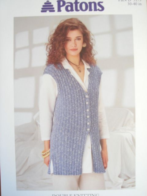 Patons Knitting Patterns patons 5173 - ladies dk ribbed waistcoat knitting pattern 30/40in cofdjju