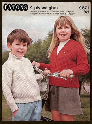 Patons Knitting Patterns patons childu0027s sweater and cardigan knitting pattern 9871, 1960s uauzeke