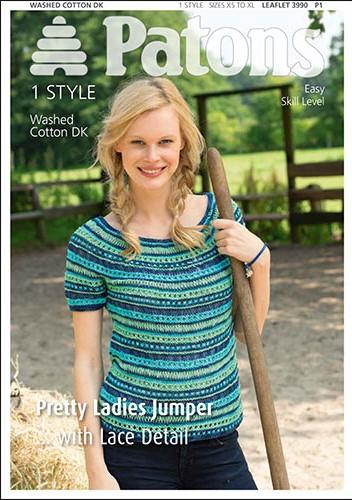 Patons Knitting Patterns patons washed cotton dk pretty ladies jumper knitting pattern 3990. ryihxsr