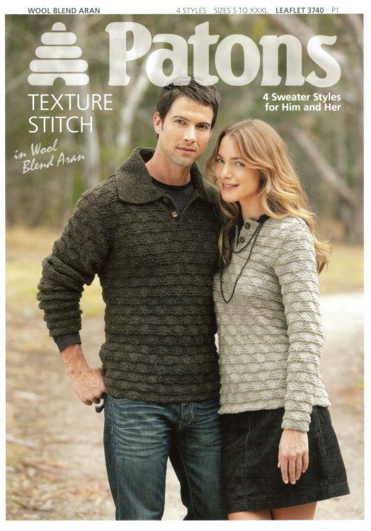 Patons Knitting Patterns patons wool blend aran 4 sweater for him u0026 her knitting pattern 3740 gkplpjx