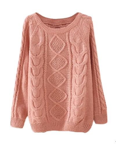 pink cable knit jumper st0230046-4 ytxhjds
