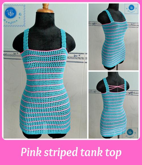 pink striped crochet tank top zaawxwc