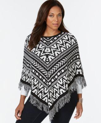plus size jacquard fringe poncho sweater, only at macyu0027s bnpcimh