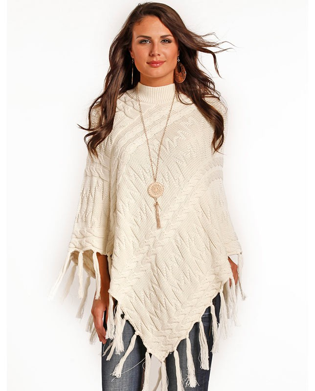 powder river outerfitters ladies cream fringe poncho sweater gadgzkg