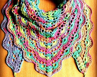 rainbow crochet shawl crochet cotton shawl rainbow triangle scarf colorful  triangle shawl ujnilgc