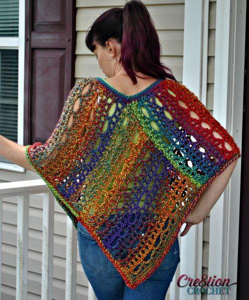 rainbow lace crochet poncho fbdbgmk