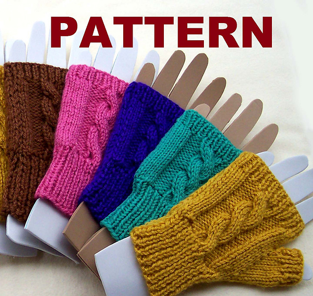 ravelry: cable knit fingerless mittens pattern by claudia lowman tarxenw