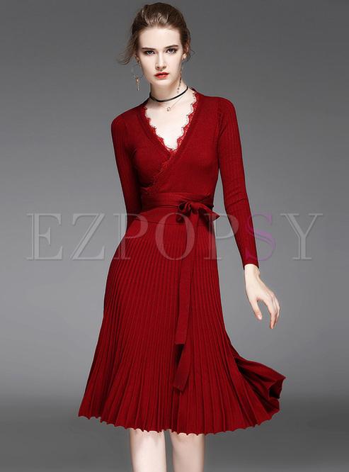 red brief falbala v-neck knitted dress dvpqnzi