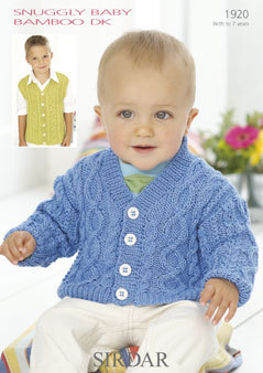 Sirdar Knitting Patterns 1920 - sirdar snuggly baby bamboo dk cardigan u0026 waistcoat knitting pattern widsmap