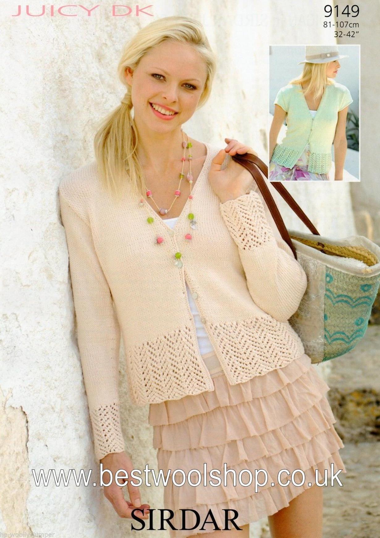 Sirdar Knitting Patterns 9149 - sirdar juicy dk lacy edged cardigan knitting pattern - to fit ygodyum