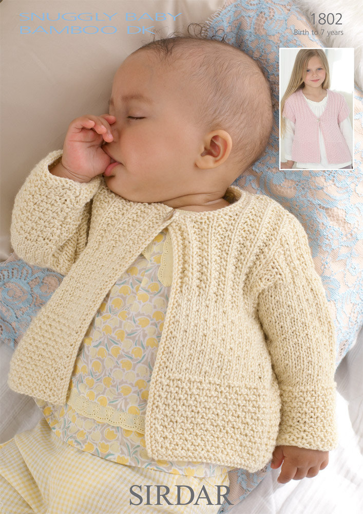 Sirdar Knitting Patterns cardigans in sirdar snuggly baby bamboo dk - 1802 - downloadable pdf wzhggbt