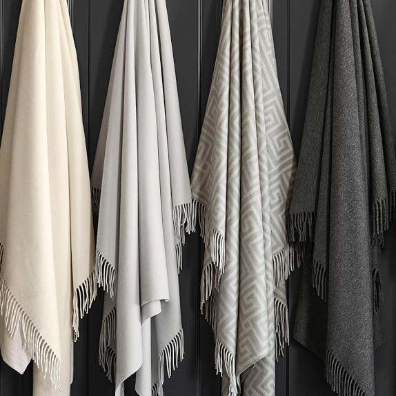 solid cashmere throw, alpine grey pmsmblc