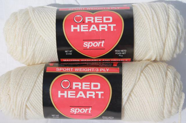 Sport Weight Yarn lot of vintage acrylic yarn, red heart sport weight knitting / crochet yarn, rfufiqr
