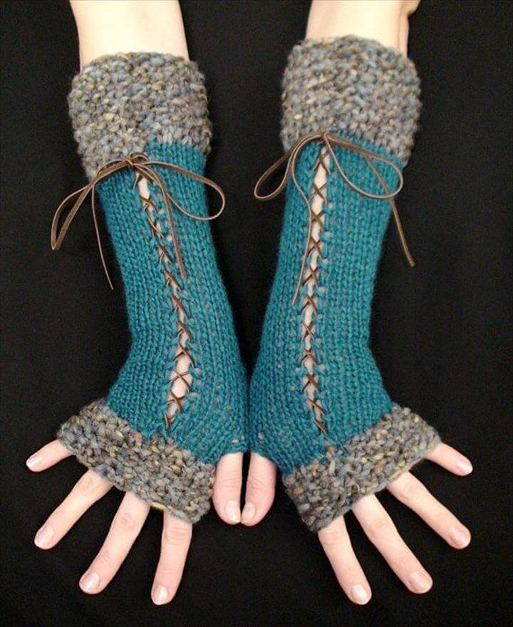 stylish long leather lace ends crochet fingerless gloves knyzzzx
