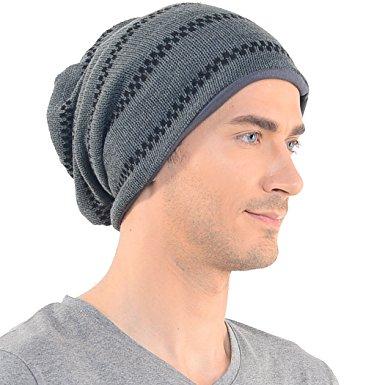 stylish mens slouch beanie long knit cap skull hat gray b734 zaxeklq