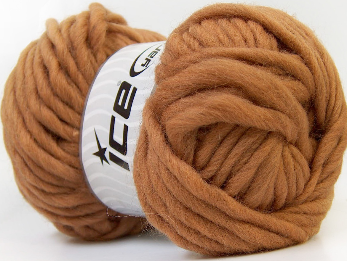 Super Bulky Yarn pure wool superbulky light brown ... dcgknop