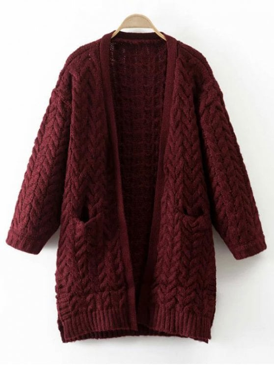 trendy thickening cable knit cardigan - wine red one size wsieirg