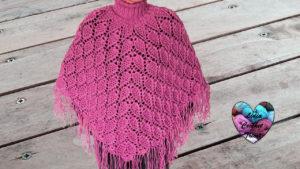 tricot crochet poncho feuilles aqwqqej
