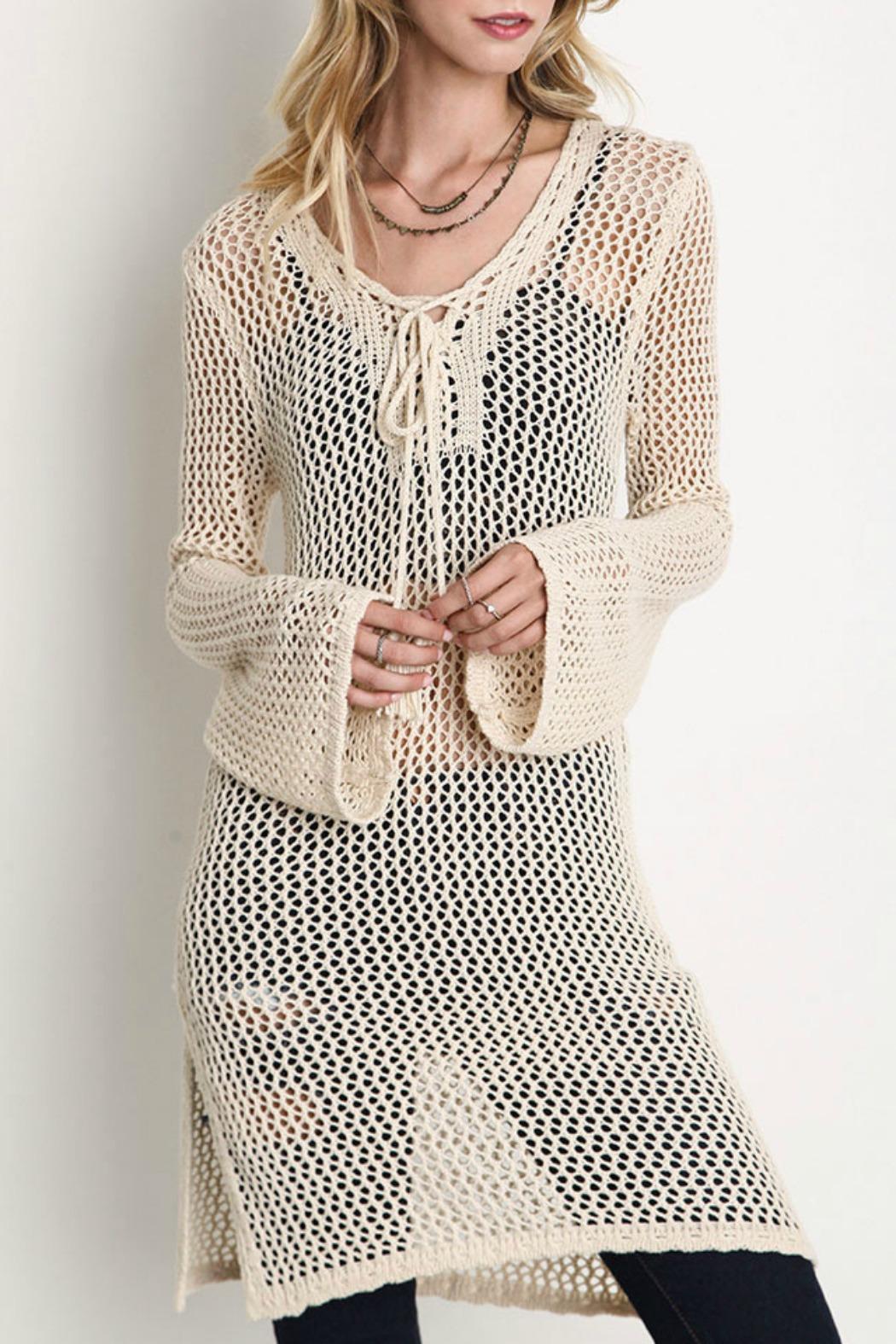 umgee usa sheer crochet tunic - main image deszpgf
