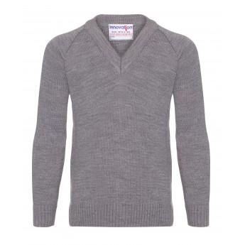 v/neck knitted jumpers - grey wtmyamg