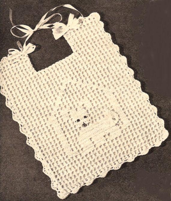vintage crochet patterns dog filet baby bib vintage crochet pattern pdf vgmvrce