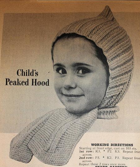 vintage knitting patterns vintage knitting pattern - childu0027s peaked hood with scarf - 1950u0027s kids or jqhmtap
