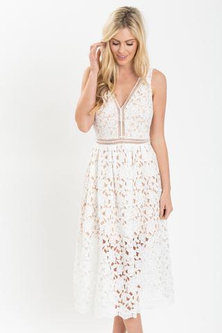 white crochet dress ... isabella white lace crochet midi dress ... xuvchba