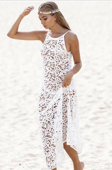 white crochet dress new 2016 fashion beach female sexy summer beach white lace crochet dress wiqltgl