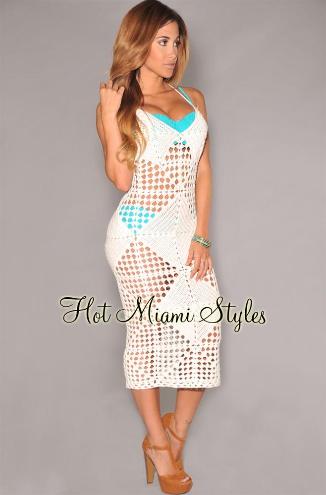 white crochet dress white crochet cover-up midi dress tewkilv