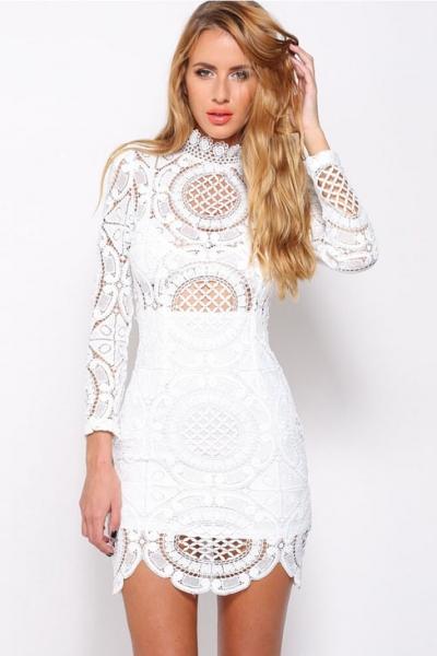 white crochet dress white crochet lace high neck mini dress - oasap.com zieewmr