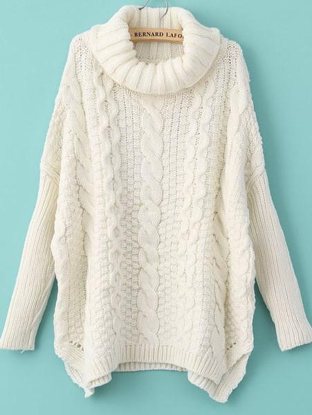 winter fashion white long sleeve turtleneck chunky cable knit sweater lxyznzb