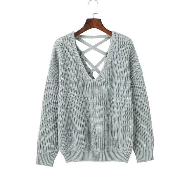 women autumn casual backless bandage knitted sweaters knitwear fashion  crochet v neck cuvzfji