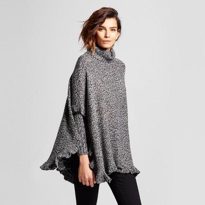 womenu0027s ruffle poncho sweater ... octnfun