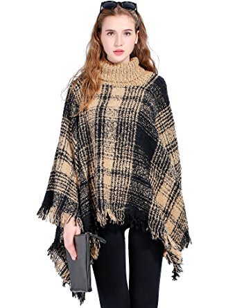 womenu0027s turtleneck poncho sweater knitted pullover capes tassel shawl black  and yellow jtkffep