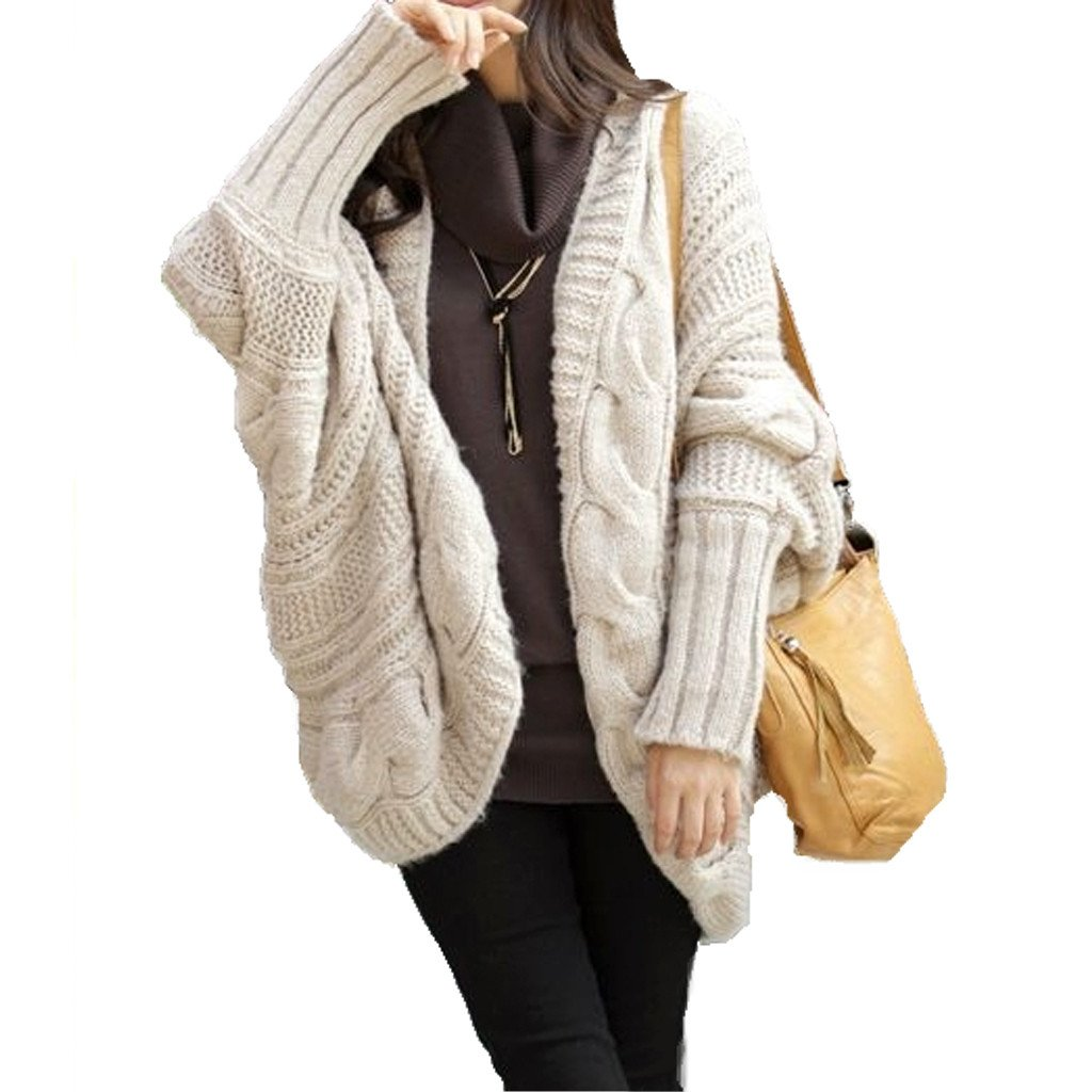 womens batwing cable knit cardigan waskipg