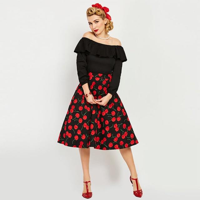 2017 Vintage Dress 1950s Style Spring Summer Slash Neck Black
