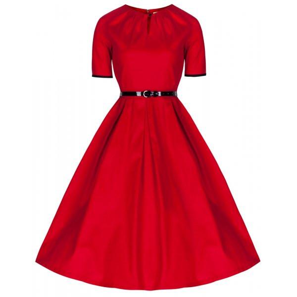 1950's Inspired Red 'Zena' Dress   Vintage Style Dresses - Lindy Bop