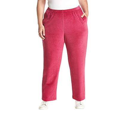 Alfred Dunner Womens Plus Velour Lounge Casual Pants at Amazon