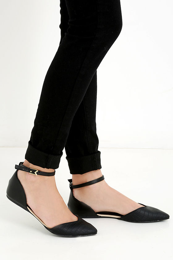 Cute Black Flats - Ankle Strap Flats - Pointed Flats - $20.00