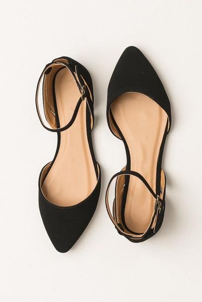 shoes, black shoes, black pointed flat, ankle strap, flats, black