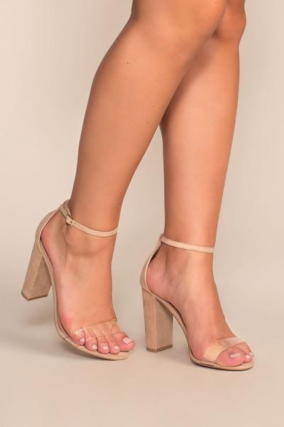 Cynthia Nude Vegan Suede Ankle Strap Heels - Nude | Legend Footwear