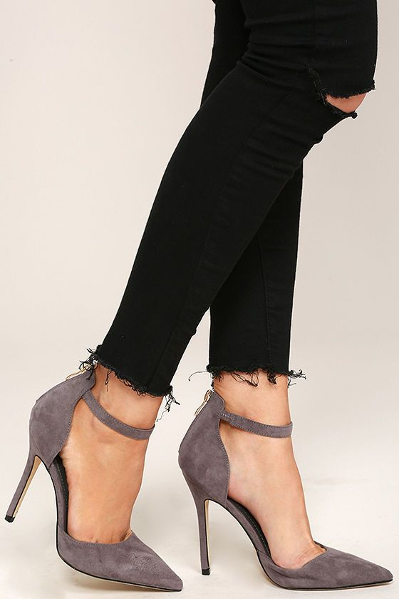 Harvest Party Grey Suede Ankle Strap Heels | I can do anything with