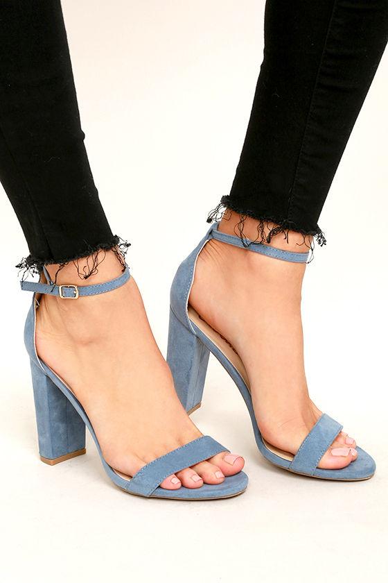 Sexy Blue Suede Heels - Ankle Strap Heels - Single Sole Heel