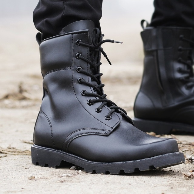 Men's Sports Hiking Leather Boots Tactical Boots Military Combat