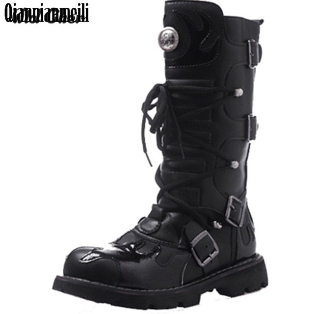 High Quality Genuine Leather Men high Boots Black Military Boots