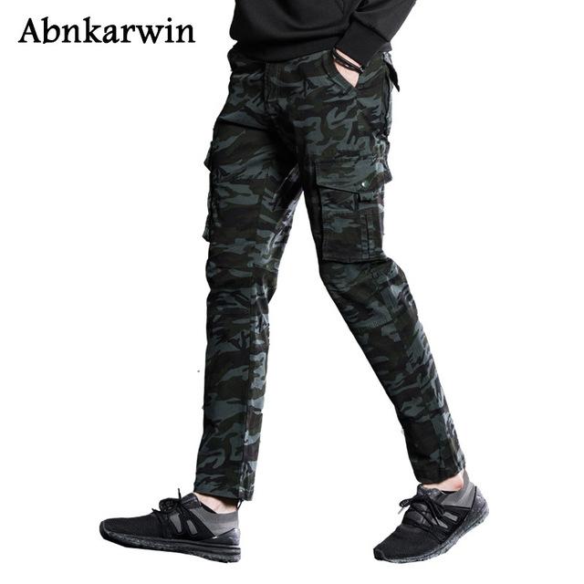 Abnkarwin Military Cargo Pant Men Army Camouflage Cotton Men's Pants