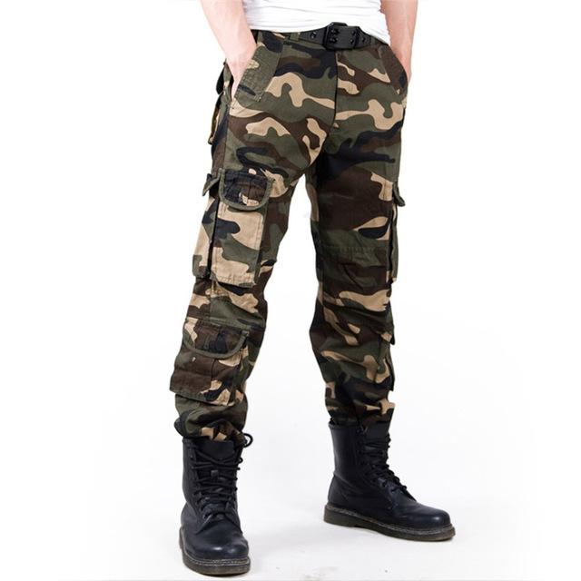 2017 Men's Cargo Pant Baggy Casual Men Tactical Pant Multi Pocket