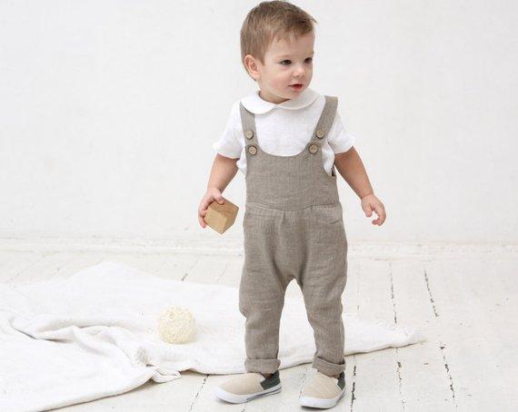 Baby linen romper Baby boy romper Overall Baby boy girl diaper | Etsy
