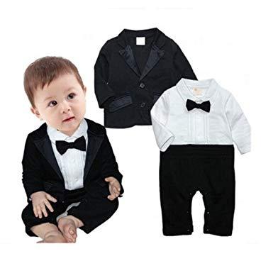 Amazon.com: Newborn Baby Boy Romper Rompers Tuxedo All-in-one Suit